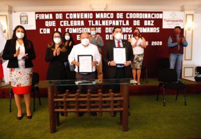 Tlalnepantla y CODHEM firman convenio en materia de derechos humanos